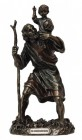 St. Christopher Statue, Bronzed Resin, 8 1/2 Inches