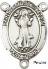 St. Francis of Assisi Rosary Centerpiece Sterling Silver or Pewter