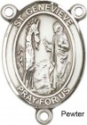St. Genevieve Rosary Centerpiece Sterling Silver or Pewter