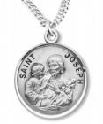 Round St. Joseph Sterling Silver Pendant