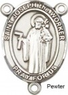 St. Joseph the Worker Rosary Centerpiece Sterling Silver or Pewter
