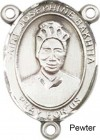 St. Josephine Bakhita Rosary Centerpiece Sterling Silver or Pewter