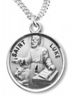 Round Medium Size Sterling Silver Saint Luke Medal