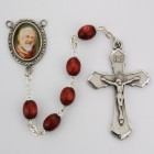 St. Padre Pio Brown Wood Rosary