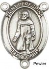St. Peregrine Laziosi Rosary Centerpiece Sterling Silver or Pewter