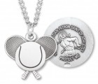 St. Sebastian Tennis Medal Sterling Silver