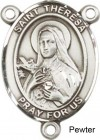 St. Theresa Sterling Rosary Centerpiece Sterling Silver or Pewter