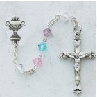 Sterling Silver Multi-Colored Crystal First Communion Rosary