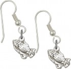 Sterling Silver Praying Hands French Wire Earrings
