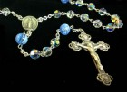 Swarovski Crystal Rosary with Blue Flower Murano Glass Our Father Beads