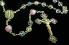 Swarovski Crystal Rosary with Pink Flower Murano Glass Our Father Beads