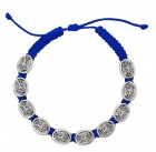 Women's Adjustable St. Michael Charm Bracelet with Blue Cord