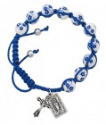 Women's Blue Flower Ceramic Beads with Miraculous Charm & Cross Bracelet