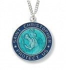 Women's Round Blue Enamel St. Christopher Medal