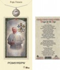 Women's Round Pope Francis Pewter Pendant w. Prayer Card