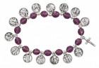 Women's Stations of the Cross Stretch Bracelet Purple Beads