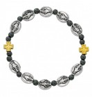 Women's Stretch Bracelet with Miraculous Charms and Hematite Beads
