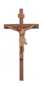10 Inch Italian Hand Painted Corpus and Walnut Wall Cross [CRX3854]