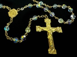 16kt Gold over Sterling Swarovski Crystal Rosary [HMBR031]