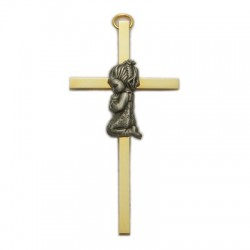 "4"" Brass Baptism Cross - Girl [CR4095]"