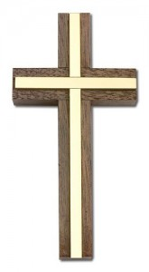 4 Inch Walnut Wall Cross with Metal Inlay, two color combination [CRB0007]