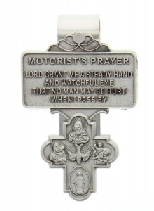 "4-Way Cross Motorist's Prayer Visor Clip, Pewter - 2 1/4""H [AU0004]"