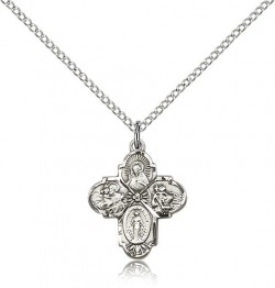 Girl's Dainty 4-Way Pendant with Flower Center [BM0009]
