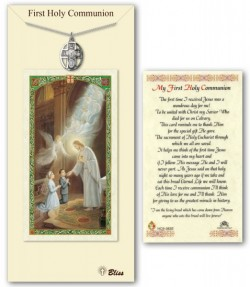 5-Way with Chalice Medal in Pewter with First Holy Communion Prayer Card [BLPCP005]