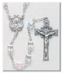 6mm Crystal Swarovski Bead Rosary in Sterling Silver [RB3405]