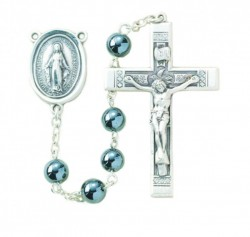 6mm Genuine Hematite Bead Rosary in Sterling Silver [RB3368]