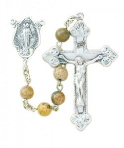 6mm Genuine Jasper Bead Rosary in Sterling Silver [RB3372]
