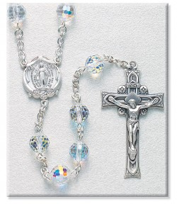 8mm Crystal Swarovski Beads Rosary in Sterling Silver with Round Miraculous Center [RB3407]