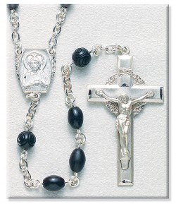 8mm Black Cocoa Bead Rosary in Sterling Silver [RB3427]