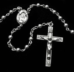 All Sterling Silver Rosary with Round 4mm Beads [HMRB015]