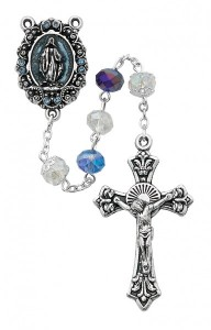 Alternating Blue and White Bead Rosary [MVRB1187]