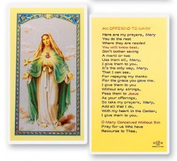 An Offering To Mary - Immaculate Heart of Mary Laminated Prayer Cards 25 Pack [HPR286]