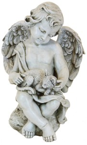 Angel Cherub with Kitten Garden Statue - 12 inch [RM0308]