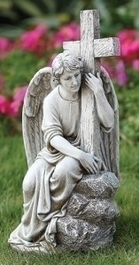 "Angel with Cross Garden Statue - 13""H [RM65982]"