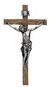 "Antiqued Silver Crucifix - 20""H [RM0294]"