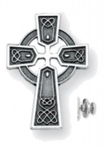 Antiqued Sterling Silver Celtic Cross Lapel Pin [HMLP008]