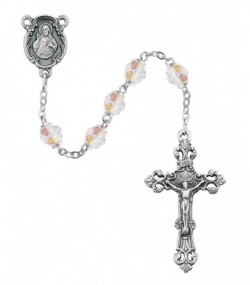April Birthstone Rosary (Crystal) - Silver Oxidized [MVR028]