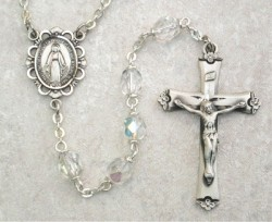 April Birthstone Rosary (Crystal) - Sterling Silver [MVR004]