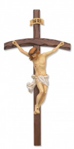 Arched Shape Walnut Log Crucifix, 16 inch [CRXMV015]