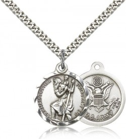 Army Saint Christopher Medal - Nickel Size [CM2118]