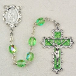 August Birthstone Rosary (Peridot) - Rhodium Plated [MVR020]