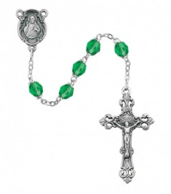 August Birthstone Rosary (Peridot) - Silver Oxidized [MVR032]
