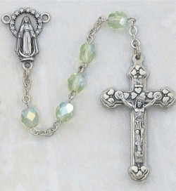 August Birthstone Rosary (Peridot) - Silver Oxidized [MVR044]