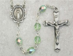 August Birthstone Rosary (Peridot) - Sterling Silver [MVR008]