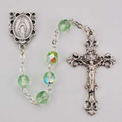 August Light Green Aurora Glass Bead Rosary [MVRB1135]