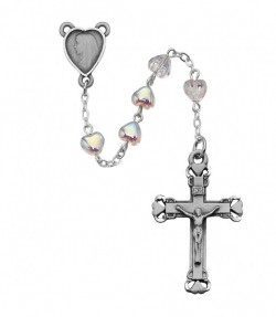 Aurora Glass Heart Bead Rosary [MVRB1082]